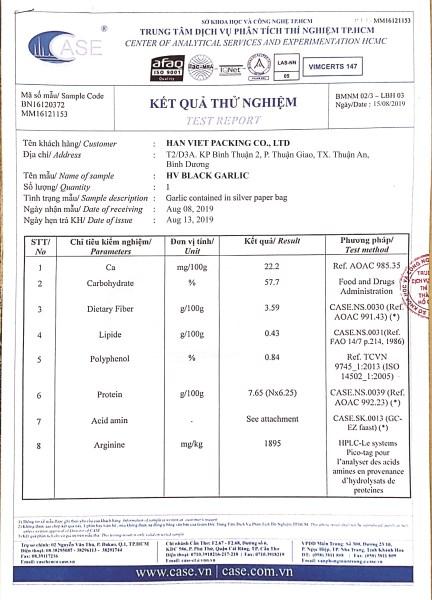 Kết quả phân tích amino acid